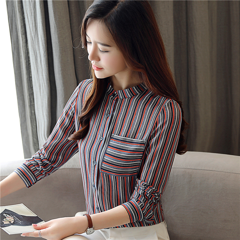 BIBOYAMALL 2018 New Spring Fashion Long Sleeved Blouses Plus Size Casual  Women Tops Simple Women Clothing Striped Blouses-in Blouses   Shirts from  Women s ... d223d5f4695b