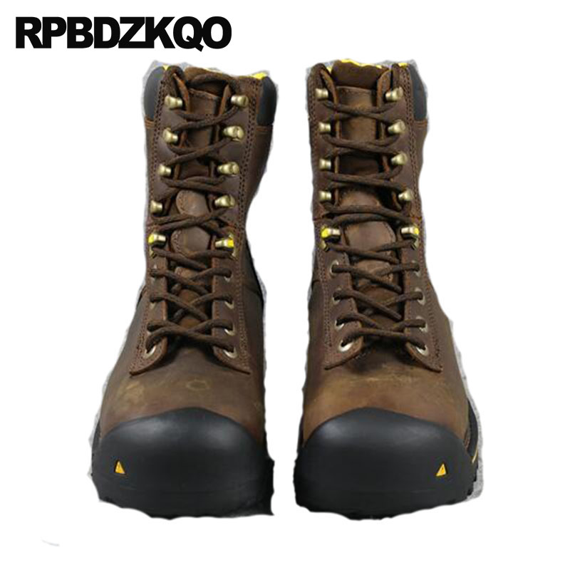 Working Durable High Sole Shoes Men Boots Safety Short Fall Full Grain Genuine Leather Lace Up Steel Toe Work Ankle Brown Luxury men black high tops steel toe cap working safety welding shoes womens outdoors soft leather ankle boots spring autumn plate sole