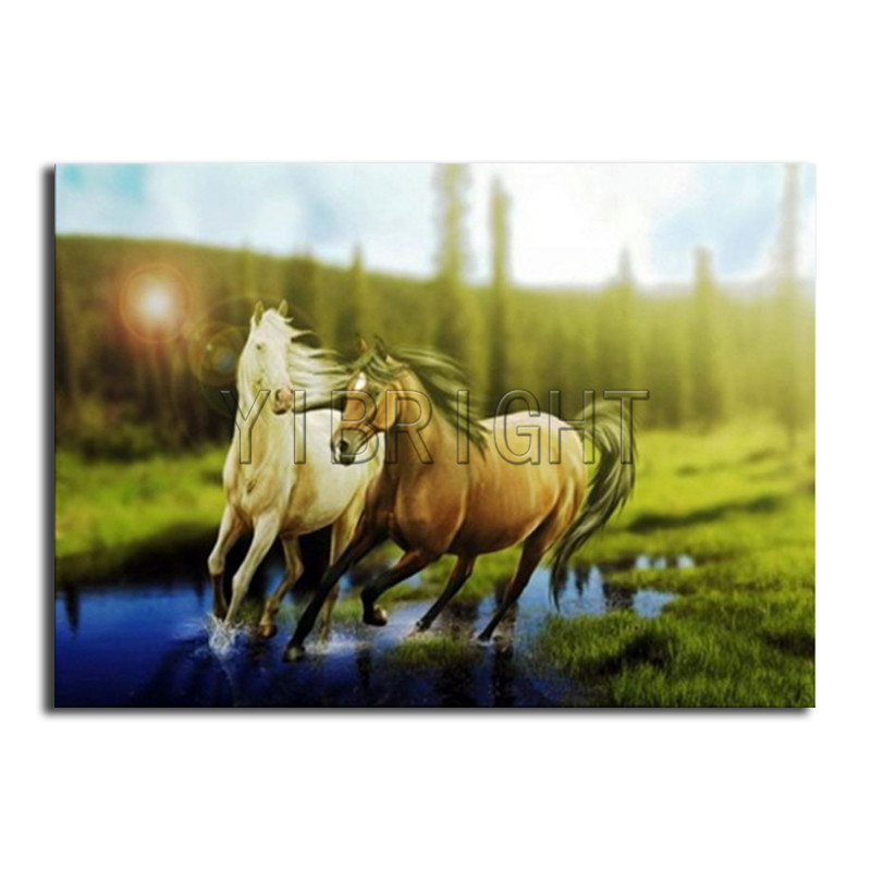 Full Round Diamond embroidery Cross stitch horse Full Square Diamond painting forest sunset DIY 3D Diamond mosaic animal