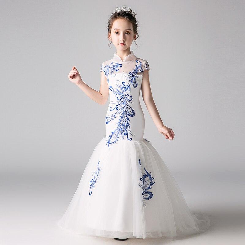 Broderie sirène fleur fille robes de mariage nouvelle mode Style chinois princesse robe d'anniversaire col montant enfants robe formelle - 2