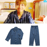 Kpop Home BTS Bangtan Boys V Same Navy Vertical Stripe Satin Pajamas Harajuku Style Sweatershirt Nighty