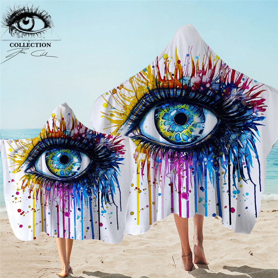 Rainbow Fire by Pixie Cold Art Hooded Towel Adults Colorful Bath Towel With Hood Watercolor Eye Microfiber Wearable Beach Wrap 1