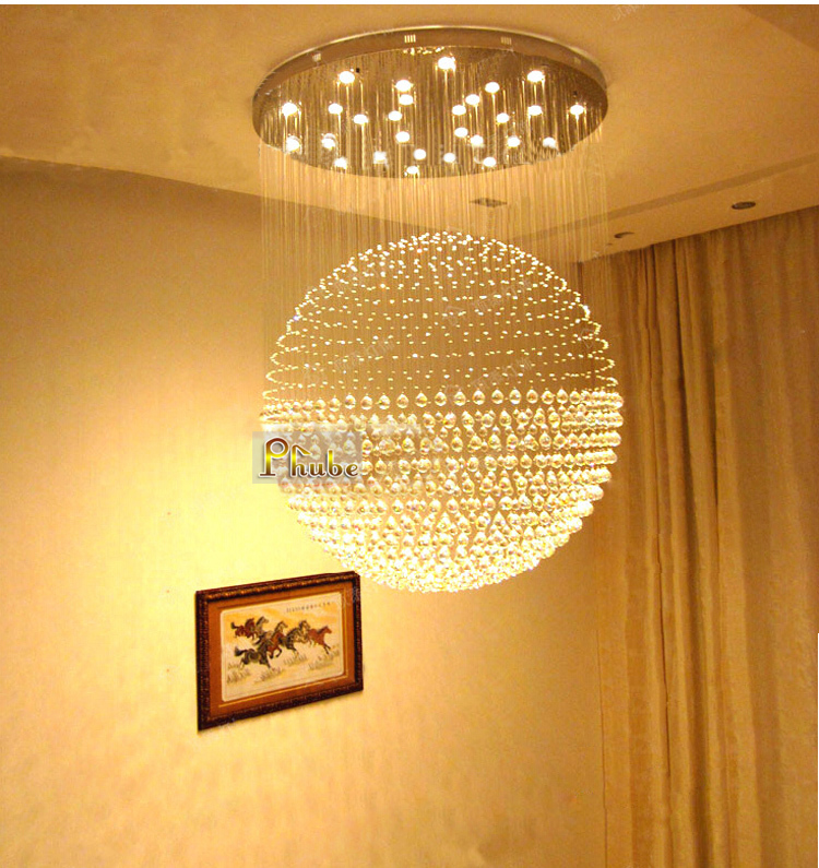 Large Ball Crystal Chandelier Light Shopping Mall Hotel Lobby Chandelier Light Lighting Width 150cm +Free shipping