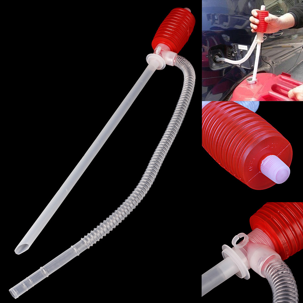 Portable Car Manual Hand Siphon Pump Hose w// 2 Pipes Gas Oil Transfer Pump Tool
