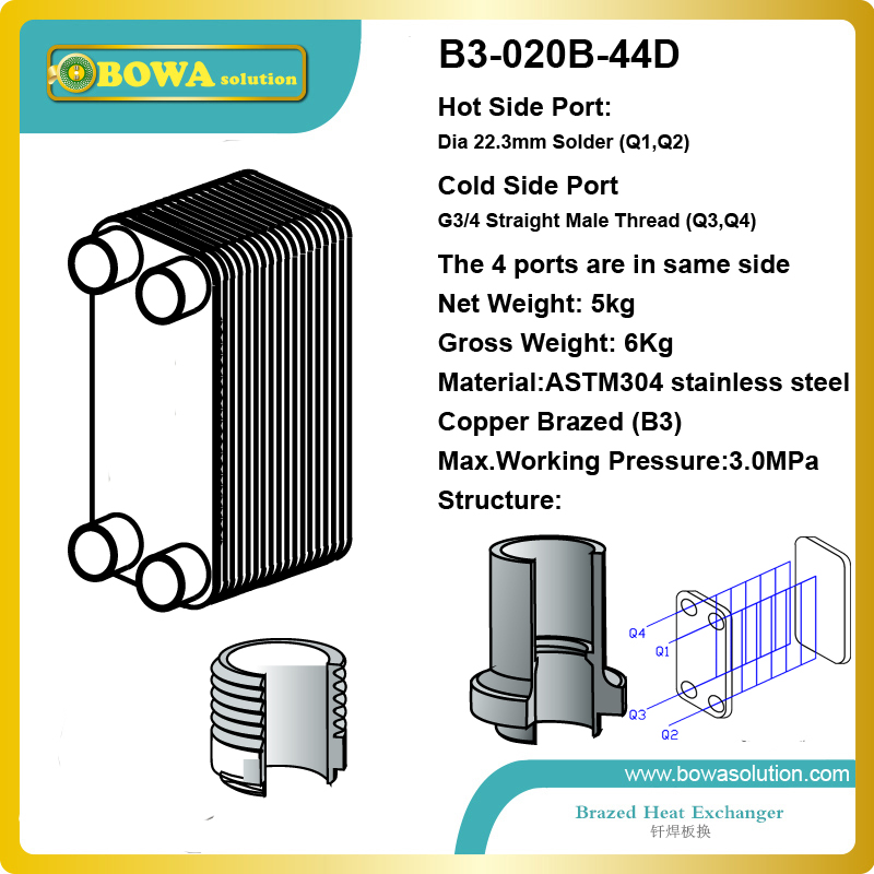 B3-020-44D copper brazed stainless steel small hole channel plate heat exchanger for home central air conditioner 4kw water chiller evaporator is copper brazed stainless steel small hole channel plate heat exchanger it is for air conditioner