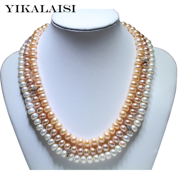 YIKALAISI 2017 fine Natural freshwater pearl necklace 925 sterling silver jewelry  8-9mm real pearl necklace gifts for women