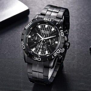 Image 4 - MEGIR мужские s часы лучший бренд класса люкс черные из нержавеющей стали бизнес Кварцевые часы мужские часы Relogio Masculino Erkek Kol Saati