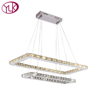 Double Square Design Dining Room LED Crystal Chandelier Living Room LED Lustre Crystal Lamp Home Decor