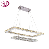 Double Square Design Dining Room LED Crystal Chandelier Living Room LED Lustre Crystal Lamp Home Decor