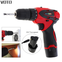 VOTO AC 100 240V Cordless 12V Electric Screwdriver Drill Lithium Battery Rechargeable Parafusadeira With Two Speed