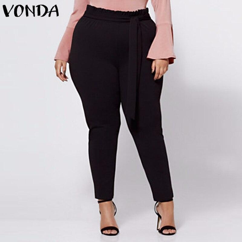 VONDA Women Pants 2018 Autumn Female Casual High Waist Trousers Elegant Oversized Vintage Solid Bottoms Plus Size