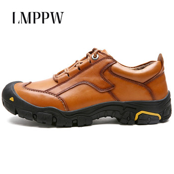Luxury Brand Men Shoes Genuine Leather Outdoor Casual Walking Shoes Autumn Winter Warm Waterproof Hiking Shoes Men Sneakers