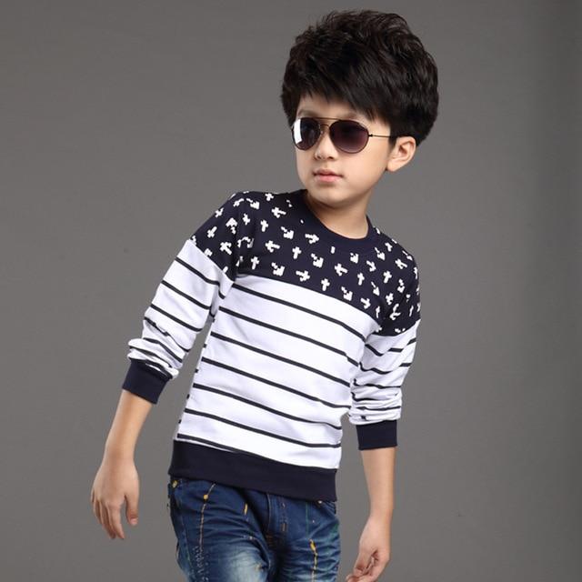 Infantil chicos de manga larga camiseta de la primavera y el verano la moda de nueva 2016 del niño del bebé ropa de algodón que basa la camiseta envío gratuito