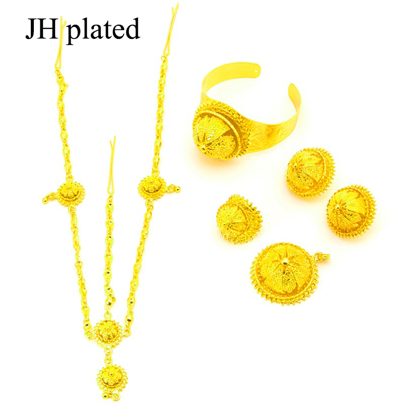 JHplated Gold Color Ethiopian Set Jewelry Bride Wedding Forehead Pieces Africa Eritrea Habesha Gift Hair Pice For Women
