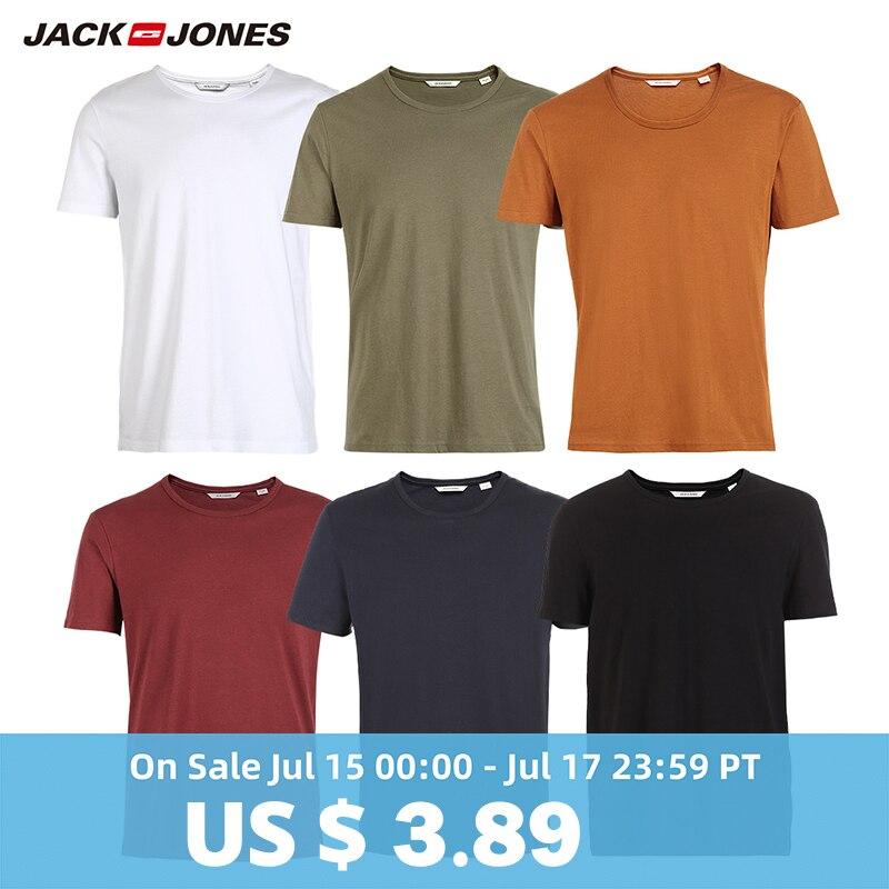 JackJones Men's Cotton   T  -  shirt   Solid Colors   t     shirt   Top Fashion tshirt More Colors 3XL 2019 Brand New   Shirt   Menswear 2181T4517