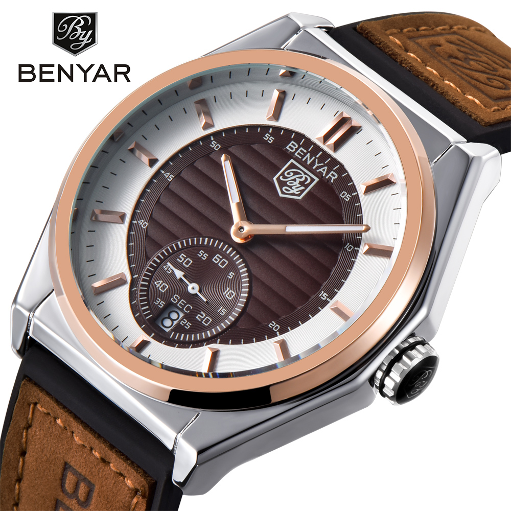 BENYAR Watch Men Fashion Sport Quartz Clock Mens Watches Top Brand Luxury Leather Business Waterproof Watch Relogio Masculino tomi brand fashion men business watch clock leather strap quartz wristwatches sport waterproof watch mens black watches