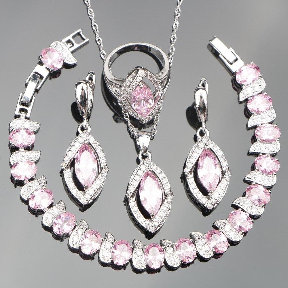 Pink Zircon Silver 925 Jewelry Sets Women Stones With Earrings Bracelets Necklace&Pendant Rings Set of Jewelery Gift Box