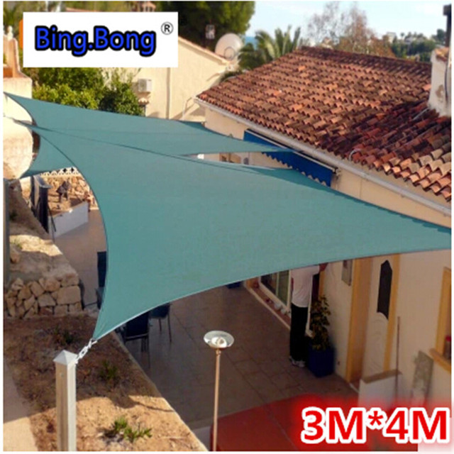 Outdoor sun shade sail 3m*4m gazebo garden awning canopy waterproof PU Polyester square toldo : garden awnings and canopies - memphite.com