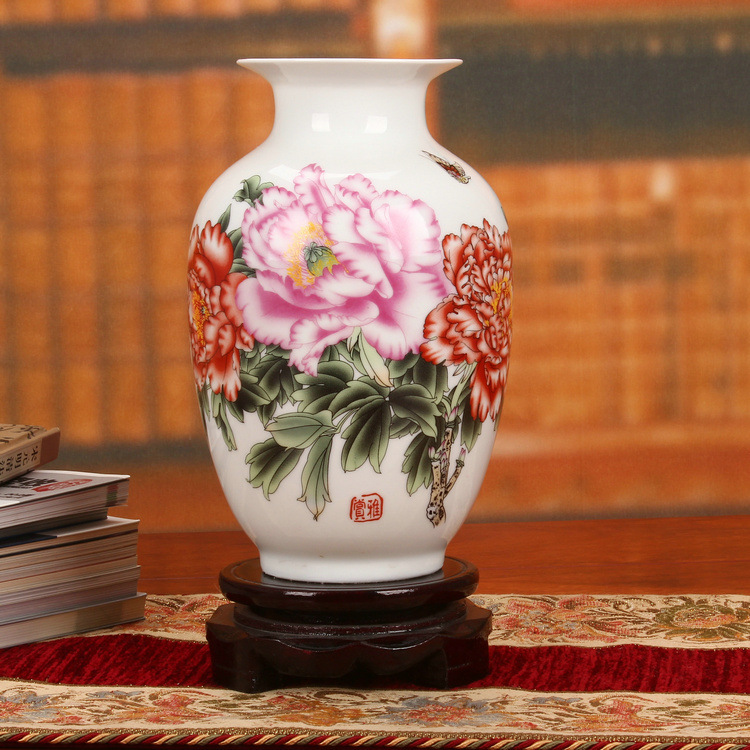 Jingdezhen ceramics factory direct pastel peony small gourd vase hand sources Home Furnishing decorations