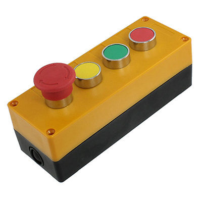 Ui 600V Ith 10A Yellow Cap Emergency Stop Mushroom Switch Push Button Station panel mount 4 position combination changeover switch 660v ui 10a ith