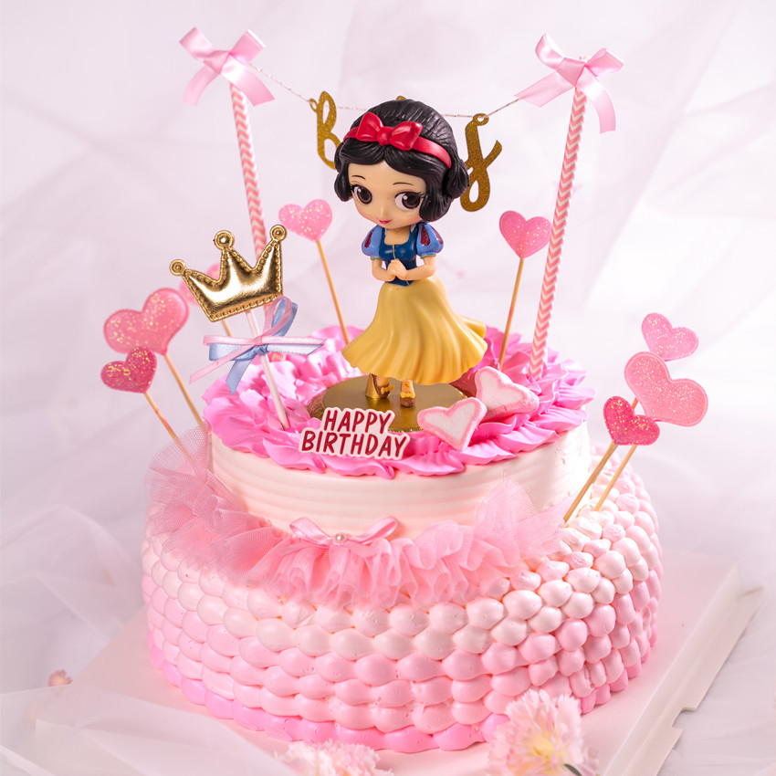 Princess Cake Topper Snow White Alice Mermaid Figure Decoration Little Girls Birthday Toppers Party Supplies In Decorating