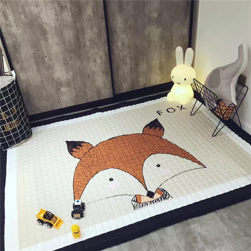 Developing Mat 145x195cm Folding Non-slip Cartoon Animal Integral Baby Rug Crawl Nordic Style Bedroom Baby Carpet Children's Rug цена