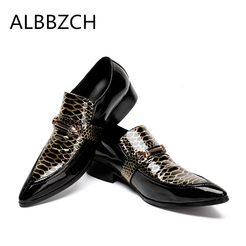 New mens luxury buckle fashion patchwork patent leather wedding dress shoes men loafers pointed toe slip on part shoes size US12New mens luxury buckle fashion patchwork patent leather wedding dress shoes men loafers pointed toe slip on part shoes size US12