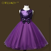 High Quality Children Girls Sequins Princess Dresses Wedding Flower Prom Dress With Bow Kids Girl Slim