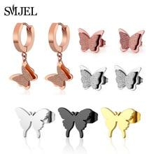 SMJEL Cute Matte Double Butterfly Earrings Rose Gold Color Stainless Steel Link Chain Ear Piercing Jewelry For Women