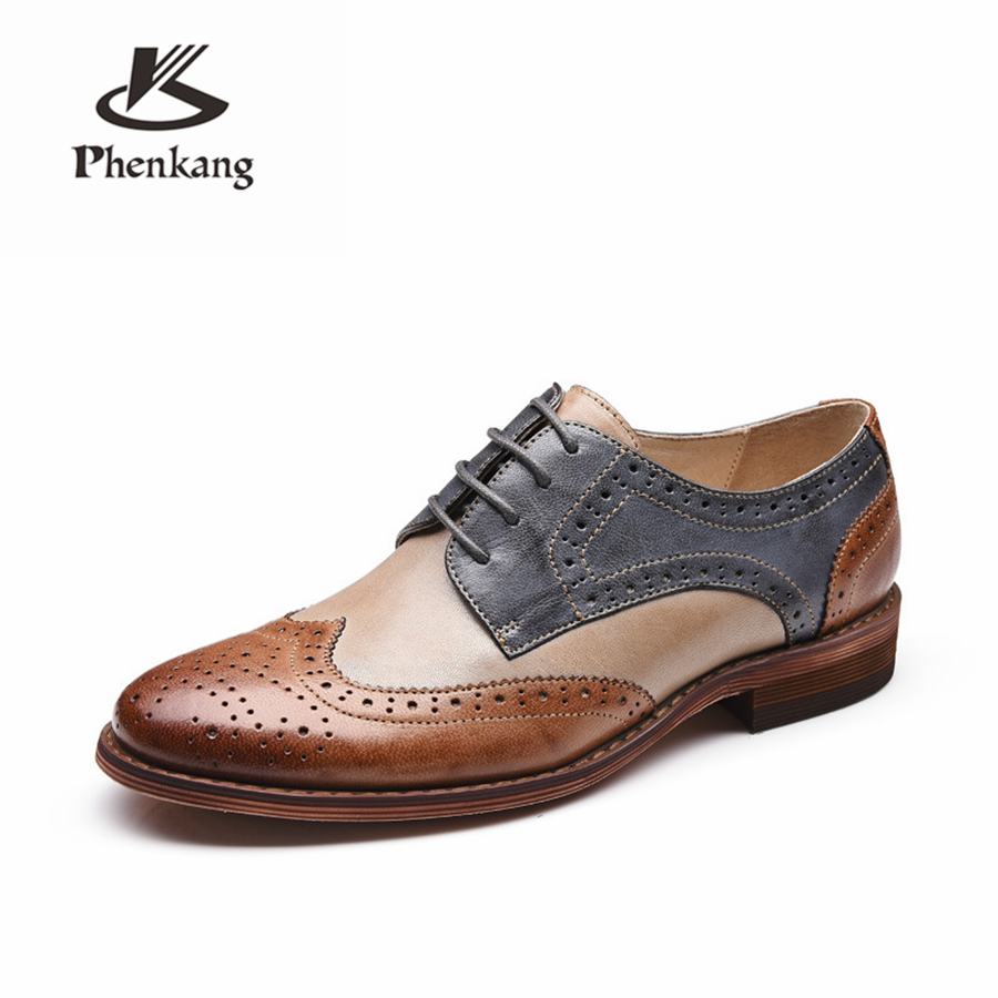 Yinzo สตรี Oxford รองเท้าผู้หญิงรองเท้าหนังแท้รองเท้าผ้าใบสุภาพสตรี Brogues Vintage Casual รองเท้ารองเท้าผู้หญิงรองเท้า-ใน รองเท้าส้นเตี้ยสตรี จาก รองเท้า บน   2