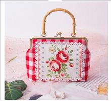 Angelatracy 2019 New Arrival Embroidery Rose Red Flower Plaid Bamboo Metal Frame Big Cotton Handle Bag Totes Day Clutches