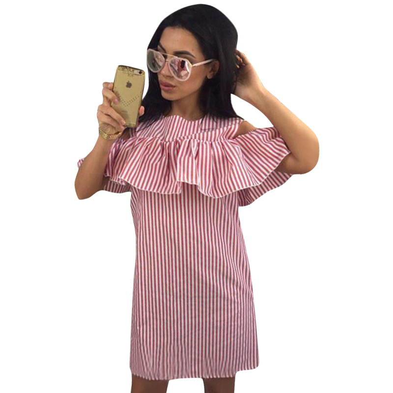 Buy Cheap Summer Women Causal Striped Dress Ruffles Cold Shoulder Sexy Bodycon Summer Short Mini Dress Plus Size LJ9215M