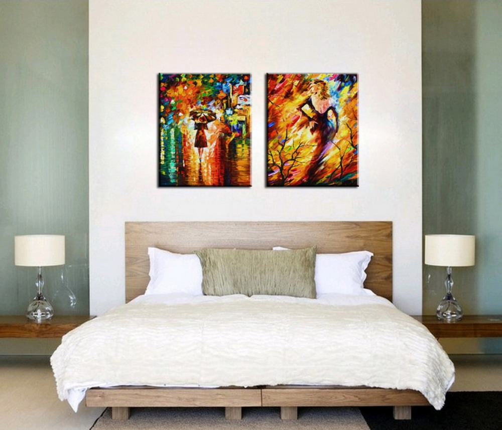 Wall Art Bedroom Modern : Bedroom decorated knife paint landscape abstract modern