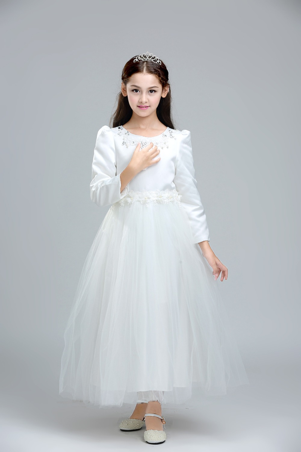 Children wedding dress for teenage long sleeve girls for Ankle length wedding dress with sleeves