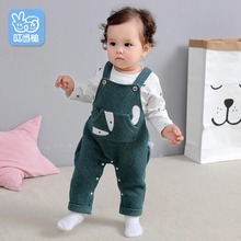 все цены на Spring Autumn baby clothing sets kids Cartoon fox 2-Piece Cute Overalls suit children toddler outfits high quality clothes 0-24M онлайн