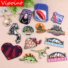 VIPOINT embroidery cactus shark patches dinosaur badges applique for clothing YX-80