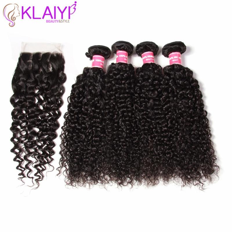 Klaiyi Hair Bundles Malaysian Curly Hair Weave 3/4 Bundles With Closure Remy Hair Natural Color Human Hair With Lace Closure