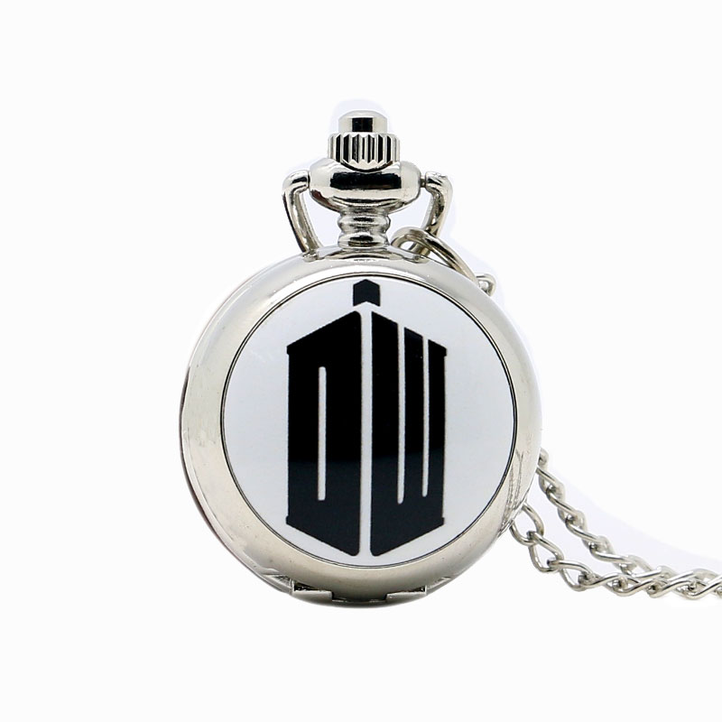 Fashion Doctor Who Theme Dr. Who Small Pocket Watch Silver Quartz Watches Necklace with Chain For Men Women Boy Girl Kid Gift