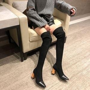 Image 3 - MORAZORA 2020 جديد بوط من الجلد الطبيعي الجلد المدبوغ سميكة عالية الكعب فوق الركبة أحذية النساء أشار تو تمتد الفخذ أحذية عالية