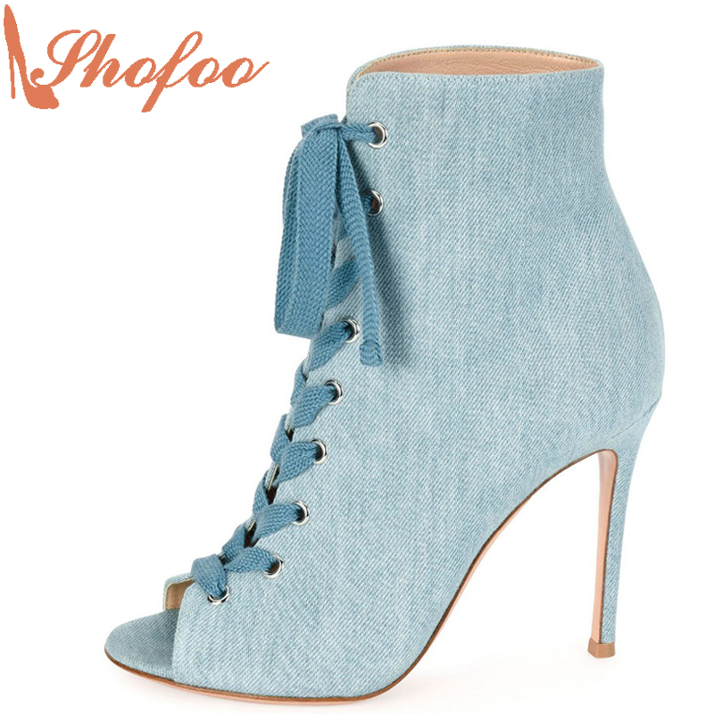 Shofoo Women Elegant High Heels Pointed Toe Ankle Boot For Woman Dress&Party&Evening Sandals Shoes Botasy Botines De Mujer  shofoo newest women shoes med heels pointed toe pumps for woman dress