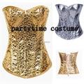 Envío gratis Sexy Sequin Lace up Boned Corset Lingerie Overbust vasco Clubwear más el tamaño