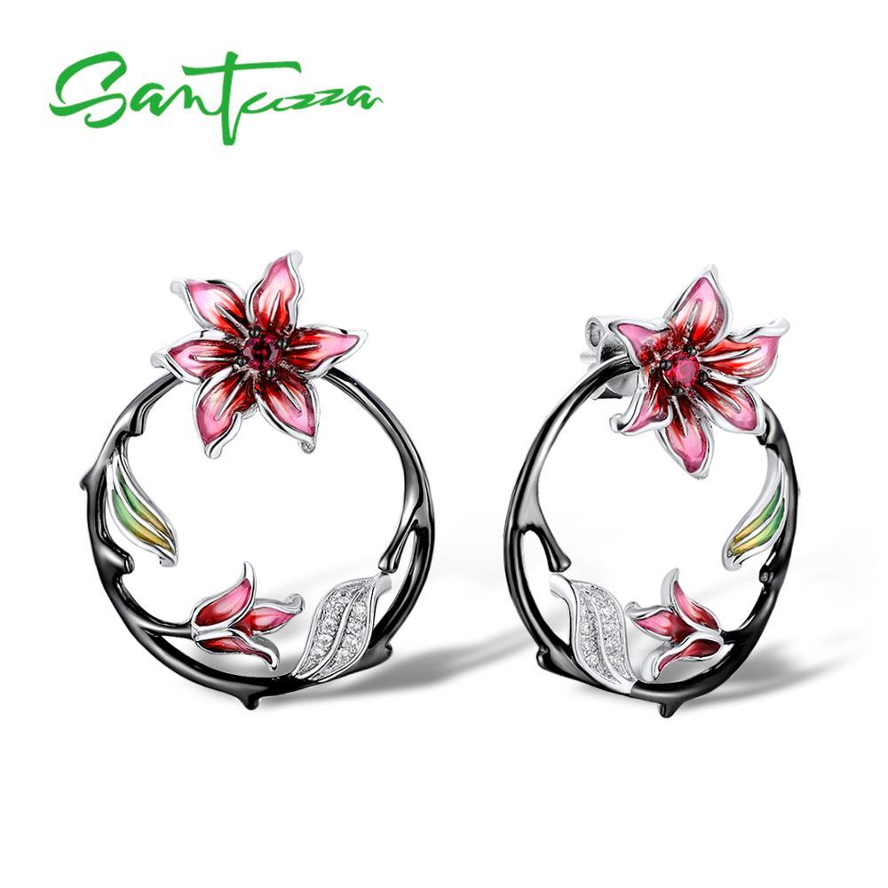 цена на SANTUZZA Silver Earrings For Women 925 Sterling Silver Branch Flower Earrings with Stones Cubic Zirconia brincos Jewelry enamel