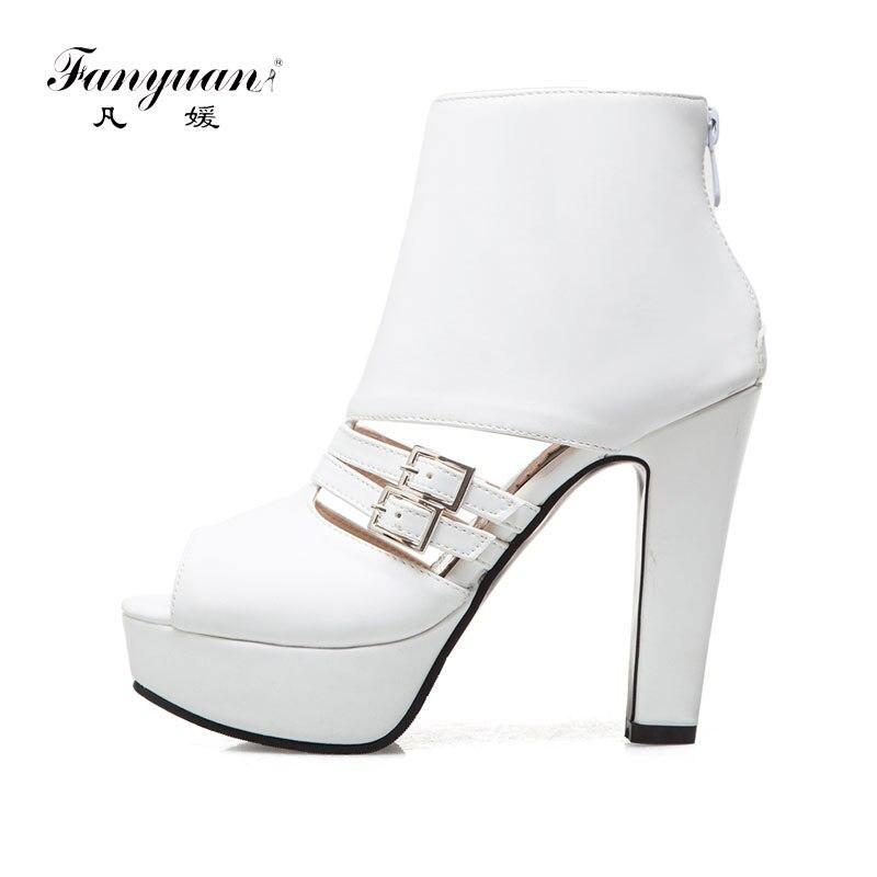 Fanyuan Rome Style Gladiator Sandals Women Peep toe high Heels Summer Platform Sandals Buckle Zipper ladies Party Wedding Shoes