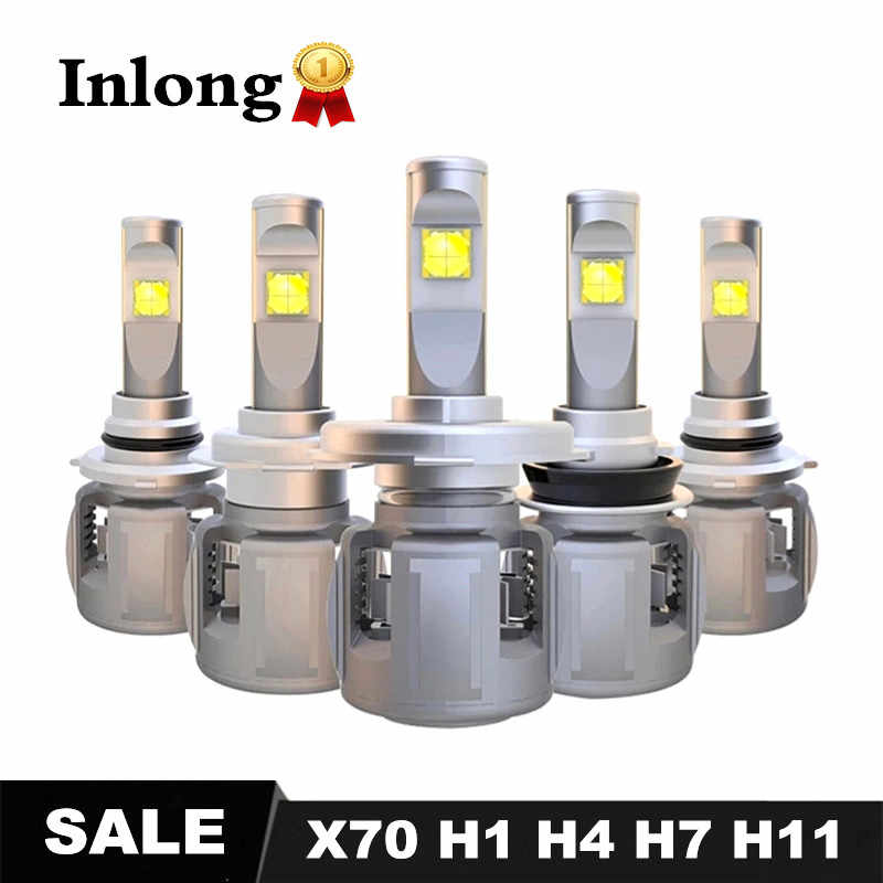 Inlong Car LED Headlamp X70 H7 LED H4 D4S H1 H8 H9 D2S H11 9005 D3S 9006 HB4 HB3 D1S Car Headlight Bulbs 6000K Fog Lights DC 12V