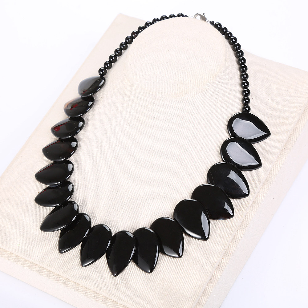 3A Black Agate Necklace Women Men Natural Stone Onyx Leaf Pendant Jewelry Power Gem Femme Collares Multilayer Necklace Healing Ожерелье