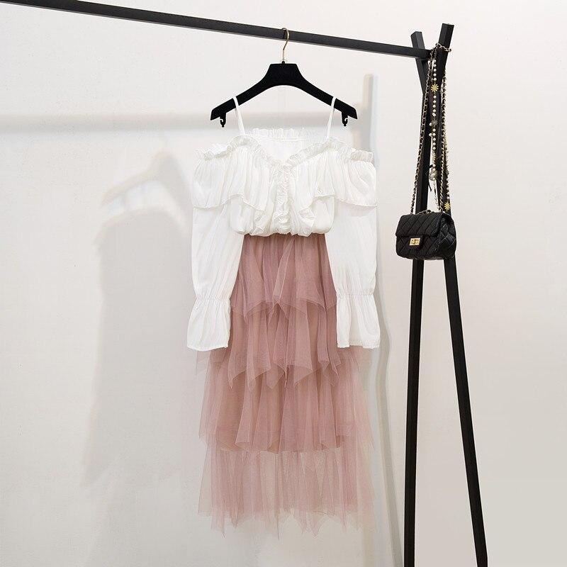 2019 Summer New Elegant Women Lotus Leaf Shirts + Layered Mesh Skirts 2 Piece Set Female Suits Irregular Gauze Long Skirts Suit