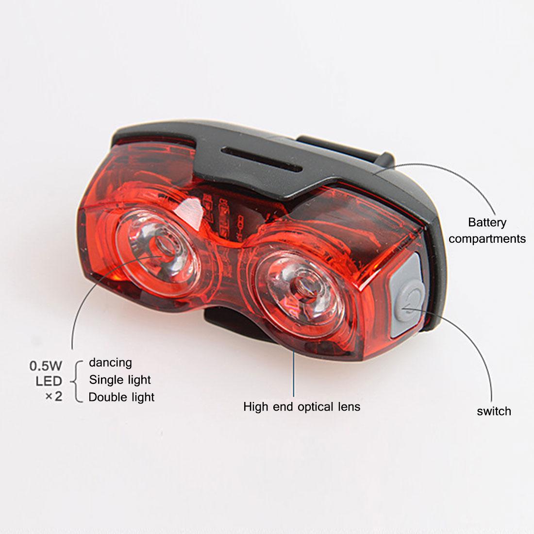 Bike Bicycle Cycling 2 LED 3 Mode Tail Light Warning Safety Flashing Rear Lights