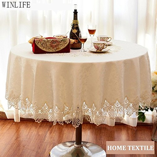 WINLIFE Brand Lace Table Cloth Set European Round Table Cloth Round Lace  Tablecloth(China (