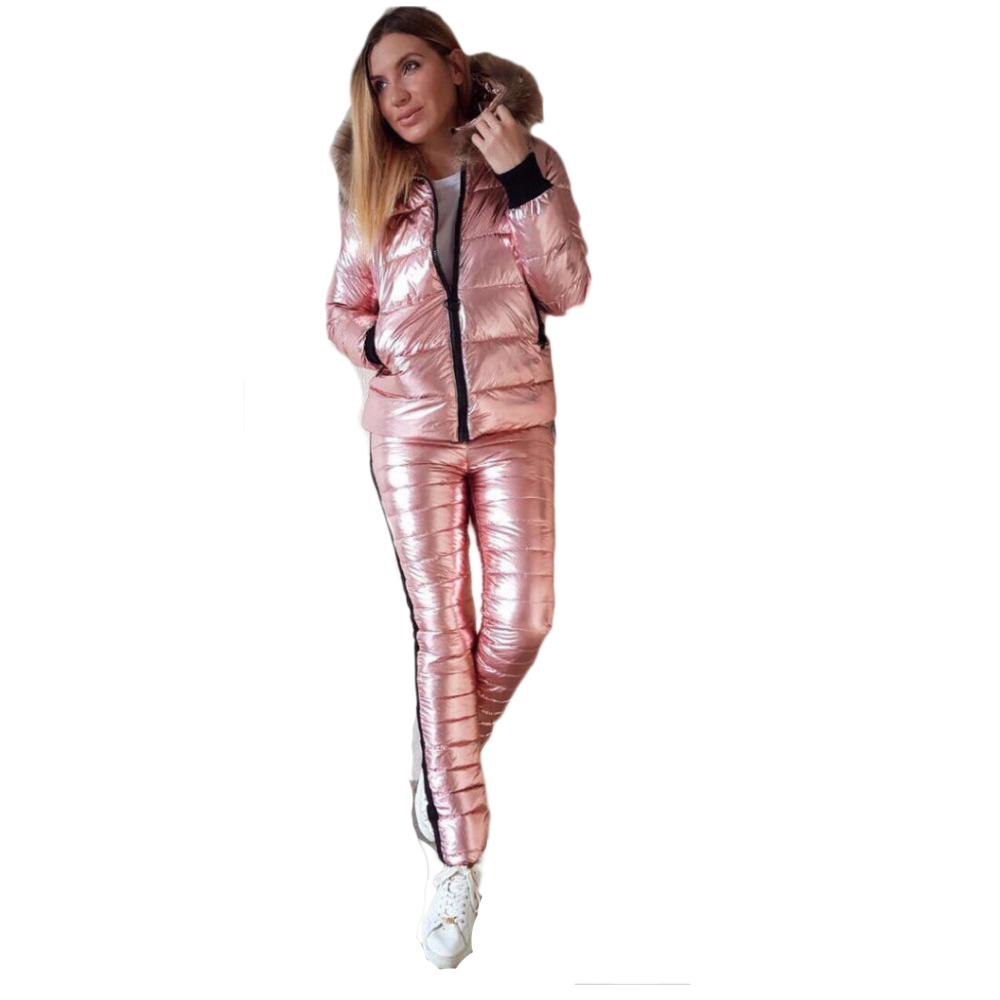 Bright Leather Women Ski Suit Winter Thick Fur Collar Hooded Jacket Outdoor Slim Trousers Warm Down Cotton Jacket+Pants