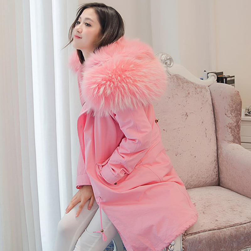 Winter Coat Women 2017 Real Fox Fur Linner Down Parka With Large Natural Raccoon Fur Collar Womens Winter Jackets And Coats 2017 winter new clothes to overcome the coat of women in the long reed rabbit hair fur fur coat fox raccoon fur collar